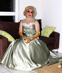 Christine  Gowned in Green Satin (Christine Fantasy) Tags: heavymakeup makeup blonde blouse cd christine crossdresser drag earrings elegant evening fantasy feminine glamour gloves heels jewellery necklace satin sexy shemale silk skirt stiletto stockings suit transsexual transvestite gown