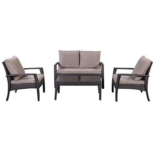 Giantex 4pc Patio Rattan Furniture Set Tea Table &Chairs Outdoor Garden Steel Frame Review
