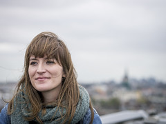 Marlene, Amsterdam 2017: High above her city (mdiepraam (30 mln views!)) Tags: marlene amsterdam 2017 portrait rooftop skylounge hilton pretty brunette girl scarf dof bokeh