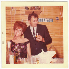 Vintage 1964 Square Snapshot : Rhonda & Bob celebrating New Years 1964 (CHAIN12) Tags: vintage snapshot photo scan scanned woman 1964 couple newyear beehive pretty bob rhonda 20thcntryphts1964bobrhondanewyrs lowresolution square