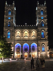 Outside Notre Dame at night (davidsharp159) Tags: canada montreal night nightshot nightscene nightshots lights lighting availablelight placedarmes cathedral notredame architecture church catholic people streetphotography streetscene