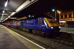 Dodging the drizzle (Hoovering_crompton) Tags: 43025 institution railway operators fgw gwr first great western class 43 hst high speed train intercity 125 night photography nikon d3300 tripod paignton devon english riviera