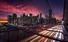 Red Lights (Fernando 75) Tags: newyork brooklynbridge cityscape travel building onewtc longexposure nikon d800 1635 filter nisi naturallight fire cloud skyline citylight