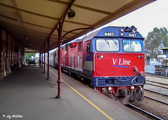 Station Shadows (jaymcghee10) Tags: vline victorianrailways vr passenger train albury wodonga oldwodongarailway melbourne victoria