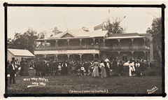 Wood Chopping contest at Woy Woy Hotel, Woy Woy, N.S.W. - very early 1900s (Aussie~mobs) Tags: vintage australia newsouthwales woywoy spectators