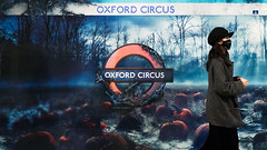 A Field of Pumkins (stevedexteruk) Tags: netflix advert advertising billboard london underground halloween tube station uk 2017 pumkin spooky mask pumpkin