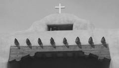 Church, New Mexico (tomsoutpost) Tags: santafe church cross blackandwhite bw grain newmexico