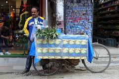 Pineapple vendor and England supporter (posterboy2007) Tags: kathmandu nepal pineapple vendor cart bicycle srreet england sony