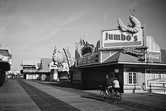 R1-036-16A (David Swift Photography) Tags: davidswiftphotography newjersey wildwood boardwalk bikes bicycle signs deserted closedfortheseason emptyspaces 35mm film ilfordxp2 olympusstylusepic jerseyshore