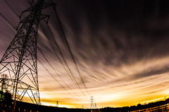 Sky at night (Paul Wrights Reserved) Tags: sky dramatic clouds cloud streaky power powerful bright pilons electric electricity lines leadinglines skyscape night nightshoot nightphotography fisheye