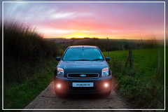 Dusk Down Chapel Lane (Resilient741) Tags: ford fusion fog lights artistic sunset dusk dawn hdr high dynamic range landscape view car vehicle croxton kerrial branston leicestershire uk united kingdom