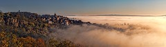 Village of Faycelles at sunrise - Village de Faycelles au lever du soleil (Sébastien Vermande (Only the Weekend)) Tags: canon100d france midipyrénées lot automne autumn levéedesoleil sunrise levéedusoleil raisingsun matin panorama morning paysage landscape panoramic brouillard fog village falaise cliff rocher maison house pierre stone mist nature vallée valley hdr sigmaart1835mmf18dchsm vermande