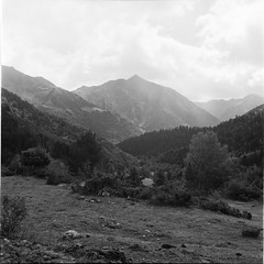 Pyrenees, a rainy day (davidgarciadorado) Tags: river rain mountains catalunya spain alos blackandwhite ilford film twinlensreflex