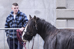 Any offers? (Frank Fullard) Tags: frankfullard fullard horse fair horsefair westport mayo irish ireland offers selling waiting patient check shirt barrier face color colour candid street portrait man bridle