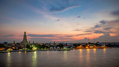 Temple of Dawn (Flutechill) Tags: sunset night dusk architecture famousplace cityscape urbanskyline tower river sky urbanscene reflection twilight asia thailand travel city builtstructure bangkok blue chaophrayariver citylife traveldestinations pagoda templebuilding buddhism buddha