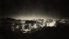 Chimayo Sunset. Taos High Road. (Richard Denney) Tags: newmexico chimayo taos santafe road sunset monchrome blackandwhite hills desert dark