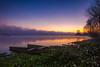 Dawn... (Artur Tomaz Photography) Tags: lake pateiradefermentelos sky blue boat flowers fog nature orange portugal purple sunrise tree water autumn plants jacintos lagoon lagoa