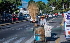 2017 - Mexico - Guadalajara - Avienda de la Paz (Ted's photos - For Me & You) Tags: 2017 cropped guadalajara mexico nikon nikond750 nikonfx tedmcgrath tedsphotos tedsphotosmexico vignetting guadalajaramexico guadalajarajalisco streetscene street people peopleandpaths uniforms red redrule barrel streetcleaner crosswalk wheels sunglasses broom strawbroom bikelane motorcycle vehicles shadows