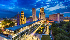 _MG_2161_web - Breitscheidplatz from the Monkey Bar and the Moon (AlexDROP) Tags: 2017 berlin germany deutschland travel architecture color city wideangle panoramic urban night scape canon6d ef16354lis historicalplace best iconic famous mustsee picturesque postcard hdr europe