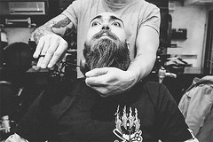 Please, don't move Sir. Please, don't move ... (Ldv Müh ♫) Tags: man boy teeshirt male people person shop barbershop scissors monochrome blackandwhite day light friendship brotherhood scene peace love word earth troyes aube france europe inside champagne beard barber