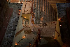 Fertility is the Thing (Bradbury Lense) Tags: candles devdiwali fertility lolarakkund priest stepwell tulsi varanasi well