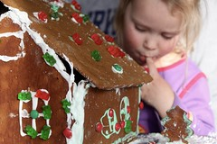 Gingerbread house tester (stephencharlesjames) Tags: christmas cookie cake dessert gingerbread house child lick finger