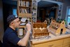 Artist at work! (ineedathis, Everyday I get up, it's a great day!) Tags: gingerbreadhouse christmas2017 baking loft window modeling sugarwork miniatures royalicing myson artist painting staining frame bokeh nikond750 kitchen family