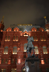 Red Square - Zhukov statue (joelpwilliams) Tags: castle brick red imposing statues structure statue horse backlit soviet moscow russia russian walls moskva army imperial war general architecture travel travelphotography traveling city stadt cityscape largecity pillars no people exterior capital sculpture europe lens trip grey overcast ornate gold lighting lights nightshot night nightime nightscape urban bustling culture oppulance street followback composition colours closeup vibrant