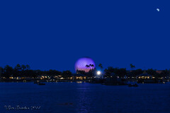 The typewriter's ball (Gate Gustafson) Tags: sonyilcea7rm2 osssel2470z carlzeiss tfe2470mmf4 epcot dinsneyworld imageprocessing palmtrees waterfront lake beach nightphotography sphere starburst futureworld spaceshipearth pavillion water moon orlando worldshowcaselagoon canopy ripples cloudless twilight thebluehour barges waltdisney monochrome treeline flagpole fowl floridapanhandle reflections quay jetty landingstage spotlight boardwalk promenade buildings themepark dusk banner promontory lanterns kiosk shops restaurants sloops jollyboats sunset wavelets