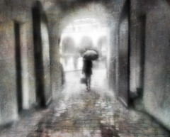 the wet streets . . . (YvonneRaulston) Tags: surreal germany regensburg europe rain raindrops wet shower umbrella person lady woman doors arch cobblestones atmospheric art abstract ally creativeartphotography colour dream door emotive texture people fineartgrunge soft girl icm moody moments morning sony photoshopartistry peaceful path street road water sundaylights