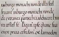 Calligraphie. Caroline du 11° siècle, d'après le Cartulaire de Redon.