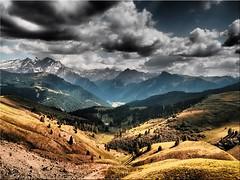 The Dolomites - view from the Sella Pass (Ostseetroll) Tags: canazei geo:lat=4650800351 geo:lon=1176758956 geotagged ita italien sellajoch trentinoaltoadige passosella jëufdesela sellapass dolomiten dolomiti dolomites alpen alps arke bearbeitung mit
