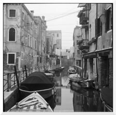 Sunday morning in Venice (Mark Dries) Tags: markguitarphoto markdries agfaisoletteii ilford fp4 rodinal 125 1000 10 6x6 mediumformat filmphotography filmcamerainyourpocket venice italy