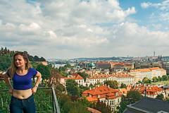 View of Prague and Young Woman (fotofrysk) Tags: view landscape youngwoman readytopose trees buildings railing clouds castledistrict easterneuropetrip prague praha czechrepublic sigma1750mmf28exdcoxhsm nikond7100 201709226540