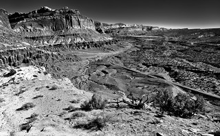 Standing on the Edge of the Waterpocket Fold of Capitol Reef National Park (Black & White)