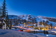 Mountain Village (Steve Rosset) Tags: 2017 cold january landscape night okanagan scenic silverstar snow twilight village winter mountainvillage resortvillage magichour magic magical alpine resort skiresort skiing ski blue hour lighttrails adventure explore travel canada bc vernon northokanagan silverstarmountain silverstarmountainresort dreamscape fairytale