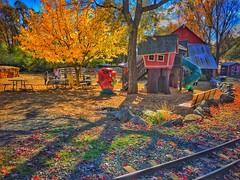 Barnyard Fun (lindayaecker) Tags: children families playground blueskies warmautumnday haystacks pumpkins ducks cows barns