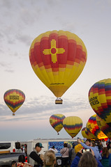 A Christmas Ornament (rschnaible) Tags: albuquerque balloon fiesta hot air colorful color transportation sport flight new mexico west western us usa southwest