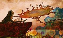 World upside down 2017/Artist : Haveit Neox (Bamboo Barnes - Artist.Com) Tags: haveitneox art surreal installation thelaft lea secondlife virtualart digitalart photomanipulation texture ship water blue red tan brown yellow light shadow bamboobarnes raft