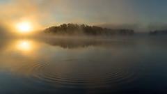 'Perfect Day' (Canadapt) Tags: sunrise morning lake island fog mist reflection ripples surface circle fish keefer canadapt
