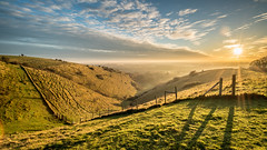 The Devils Kneading Trough (Nathan J Hammonds) Tags: the devils kneading trough kent sunset nature reserve uk britain winter rolling hills hdr nikon d750 sky landscape sun clouds mist irex 15mm f24 view rays shadows valley colour cold