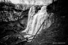 Brandywine Falls, Cuyahoga River (mswan777) Tags: autumn white black monochrome ansel cleveland scenic 1020mm sigma d5100 nikon nature outdoor tree rock travel ohio motion flow exposure long waterfall water