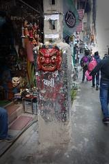 Lakhey mask (posterboy2007) Tags: kathmandu nepal devil mask street utilitypole sony ericsson