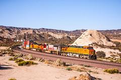BNSF7661+SF8250+BNSF4469 with a westbound stack train pass Mormon Rocks in Cajon Pass. 17September2009 (mikul44171) Tags: mormonrocks cajon cajonpass 7661