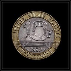Ten Francs (Me in ME) Tags: money french franc bimetalliccoin liberte egalite fraternite liberty equality fraternity