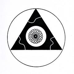 (Abstrakt 777) Tags: triangle art sacredgeometry geometry circle blackandwhite ink inkdrawing inkonpaper outsiderart folkart spiral drawing abstract abstractart