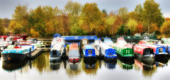 Autumn, Lemonroyd Marina (robin denton) Tags: narrowboats lemonroyd lemonroydmarina castleford canal aireandcaldernavigation naviagtion barge westyorkshire yorkshire boat boats narrowboat hdr autumn trees glow niksoftware
