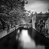 Canals And Bridges Of Bruges II (Alec Lux) Tags: bnw architecture belgium blackandwhite branches bricks bridge bruges brugge building buildings canal city daylight house landscape leave longexposure medieval nature old street tree water vlaanderen be