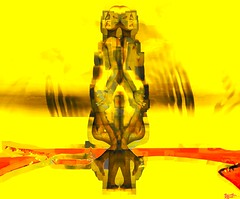 Leave but don't leave me / Artist : Theda Tammas (Bamboo Barnes - Artist.Com) Tags: thedatammas metales surreal installation virtualart digitalart yellow red tan brown photo painting texture manipulation women pair couple love art shatteredbyunobtainablelove vivid