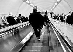 Tube Escalator (I M Roberts) Tags: tubeescalator londonunderground commuters centrallondon fujix100s bw urbansetting